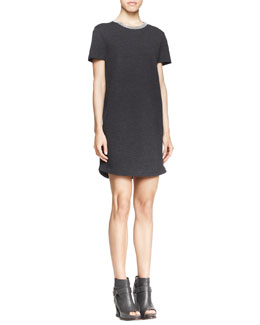 Brunello Cucinelli Shimmer Trimmed Crewneck Dress