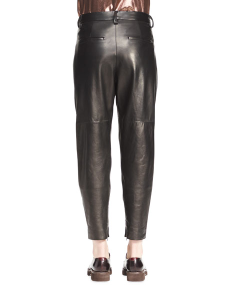 Pleated Leather Ankle Pants