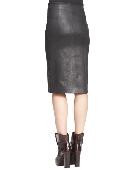 High-Waist Leather Pencil Skirt