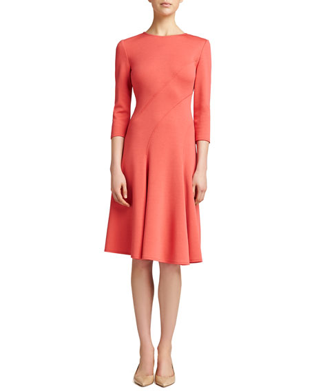 Milano Knit Jewel-Neck Dress, Pink Grapefruit