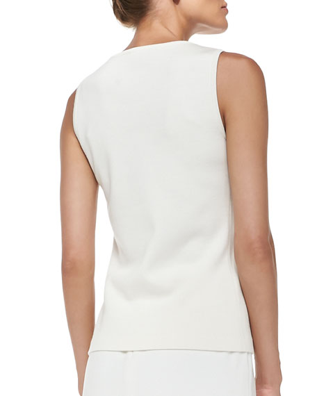 Sleeveless Milano Knit Contour Tank, Cream
