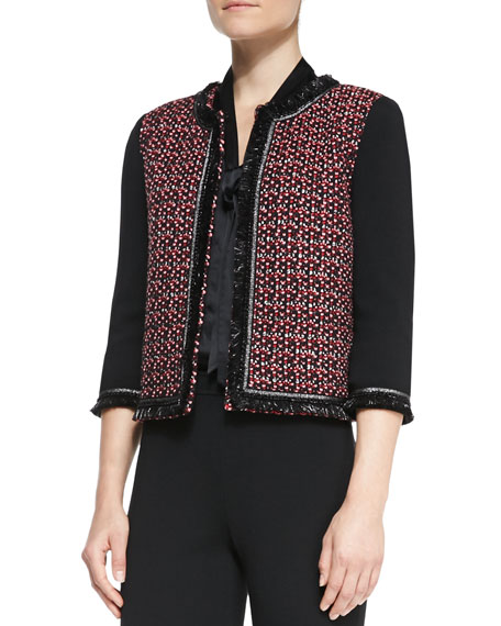 Milano Knit 3/4-Sleeve Jacket, Caviar/Multi