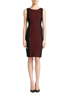 St. John Collection Sleeveless Knit Bateau Neck Dress, Caviar/Venetian