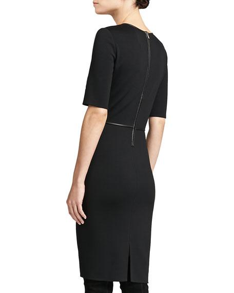 Milano Knit Elbow-Sleeve Dress, Caviar