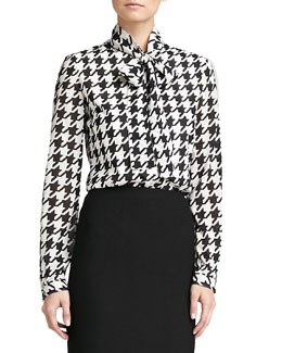 St. John Collection Marco Houndstooth Blouse, Caviar/Cream