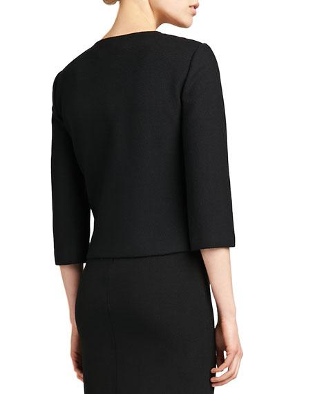 Jewel-Neck 3/4-Sleeve Jacket, Caviar/Venetian