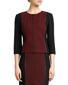 St. John Collection Jewel-Neck 3/4-Sleeve Jacket, Caviar/Venetian