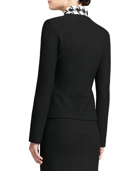 Boucle Knit Collar Jacket, Caviar