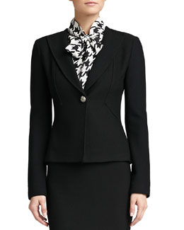 St. John Collection Boucle Knit Collar Jacket, Caviar
