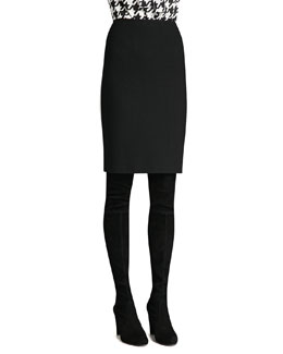 St. John Collection Boucle Knit Pencil Skirt, Caviar