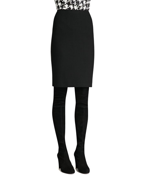 Boucle Knit Pencil Skirt, Caviar