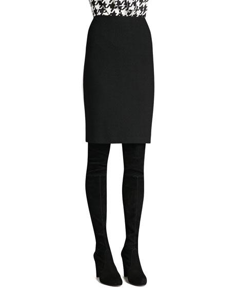 Boucle Knit Pencil Skirt, Caviar