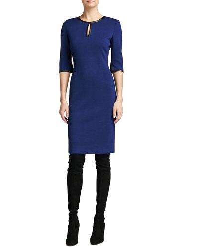 St. John Collection Knit Elbow-Sleeve Dress, Vivid Denim