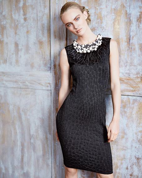 Crocodile Jacquard Knit Dress, Caviar Shimmer