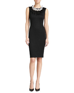 St. John Collection Crocodile Jacquard Knit Dress, Caviar Shimmer