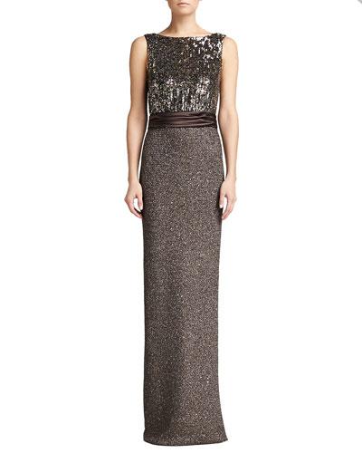 St. John Collection Sparkle Paillette Gown, Walnut/Multi