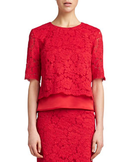 St. John Collection Florentine Lace Elbow-Sleeve Top, Venetian Red