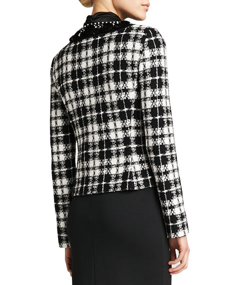 Plaid Knit Tailored Jacket, Caviar/Cream