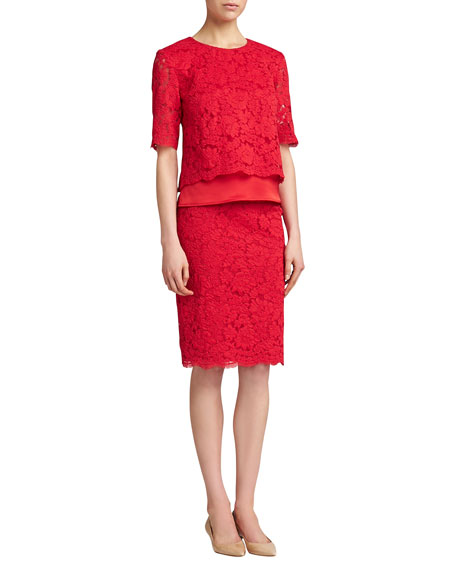 Florentine Lace Skirt, Venetian Red
