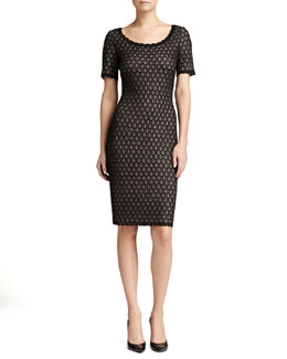 St. John Collection Layered Lace Knit Dress, Caviar Shimmer