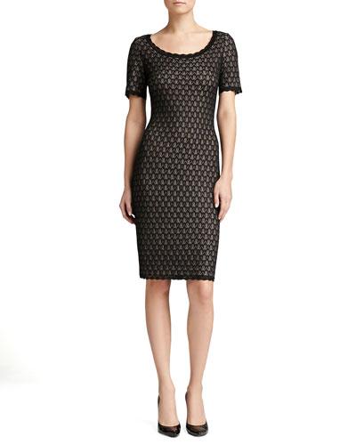St. John Collection Layered Lace Knit Dress, Caviar Shimmer