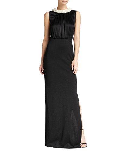 St. John Collection Shimmer Milano Knit Gown, Caviar Shimmer