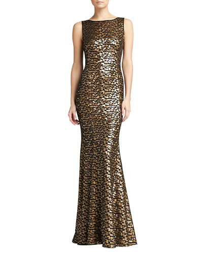 St. John Collection Leopard Spot Embroidered Gown, Caviar/Gold