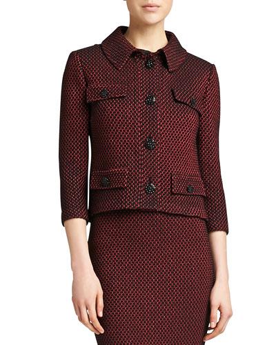 St. John Collection Stripe Knit 3/4-Sleeve Jacket, Caviar/Venetian