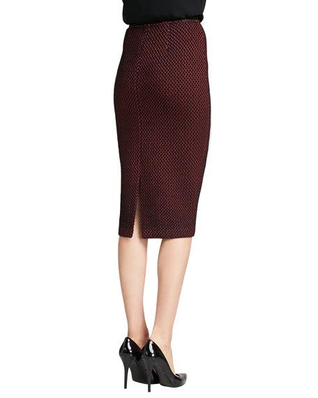 Stripe Knit Pencil Skirt, Caviar/Venetian