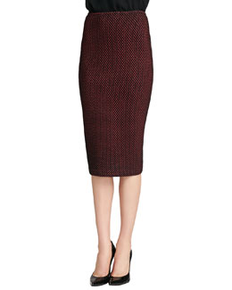 St. John Collection Stripe Knit Pencil Skirt, Caviar/Venetian