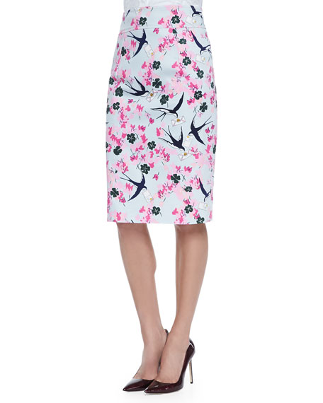Sparrow & Love Letter Printed Pencil Skirt, Pink/Multi