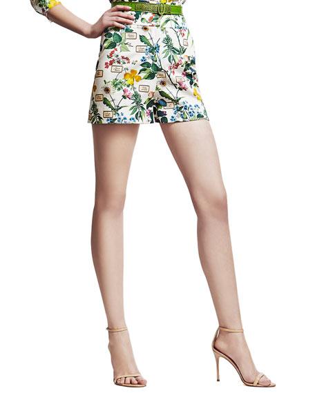Botanical-Print Shorts, White/Green