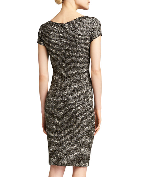 Gilded Shantung Knit Dress, Caviar/Multi