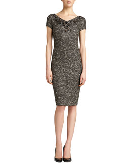 St. John Collection Gilded Shantung Knit Dress, Caviar/Multi