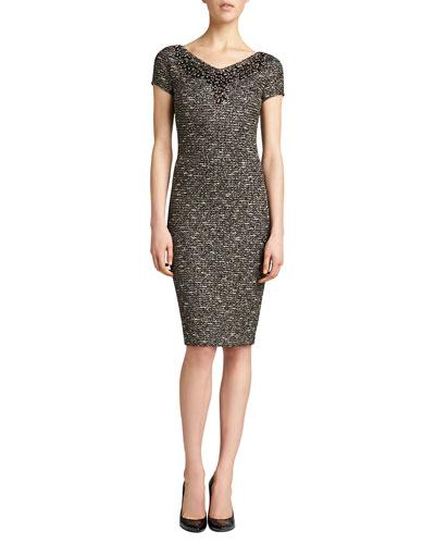 St. John Collection Gilded Shantung Knit Dress, Caviar/Multi
