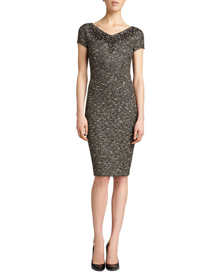 Gilded Shantung Knit Dress, Caviar/Multi