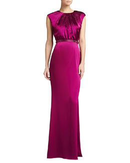 St. John Collection Liquid Satin Gown with Train, Boysenberry