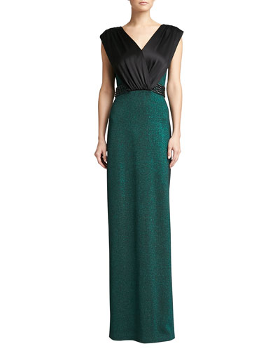 St. John Collection Shimmer Knit Gown with V Neck, Caviar/Jade