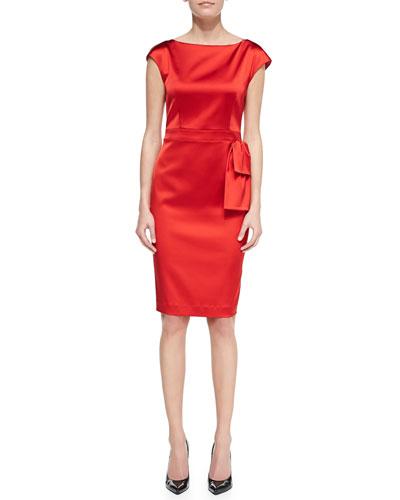 St. John Collection Bateau-Neck Dress, Venetian Red
