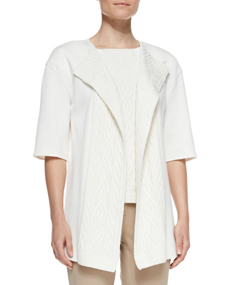 Short-Sleeve Cable Knit Cardigan, Cream