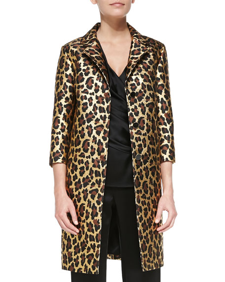 Long Leopard-Print Topper with 3/4-Sleeves, Gold
