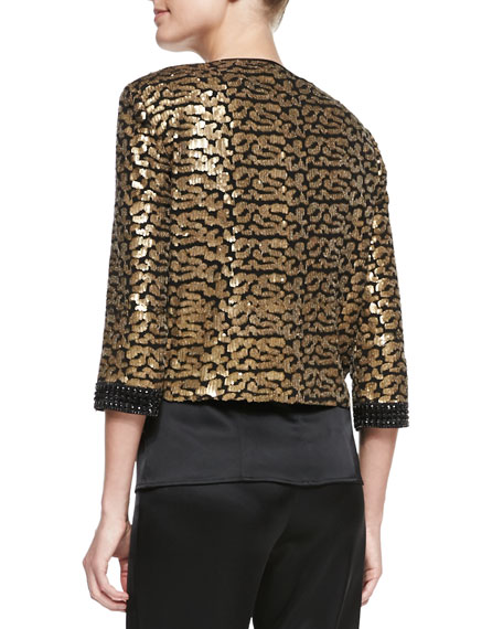 Short Sequined Patterned Topper Jacket, Caviar/Multi
