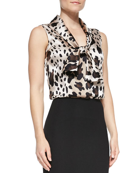 Spotted Sleeveless Tie-Neck Blouse, New Camel