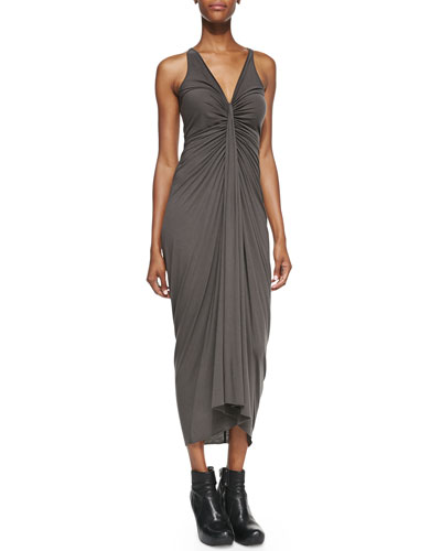 Rick Owens Lilies V-Neck Ruched-Center Dress