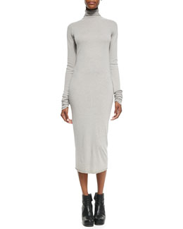 Rick Owens Lilies Long-Sleeve Turtleneck Knit Dress, Pearl