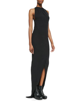 Rick Owens Lilies Heavy Jersey Draped Faux-Wrap Gown