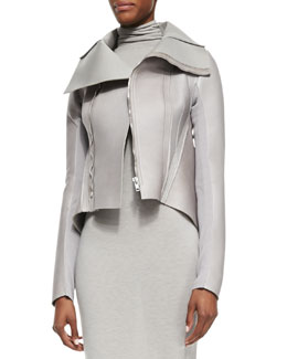 Rick Owens Lilies High-Neck Leather Jacket, Pearl