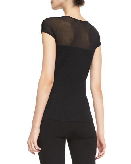 Short-Sleeve Luxury Silk Top