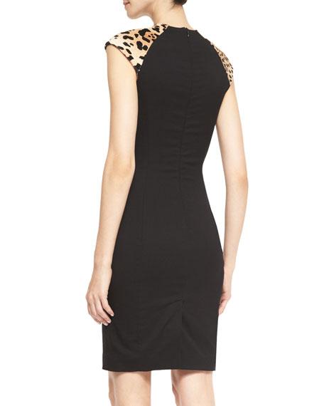 Farrah Sheath Dress with Leopard-Print Shoulders