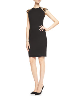 Ralph Lauren Black Label Farrah Sheath Dress with Leopard-Print Shoulders